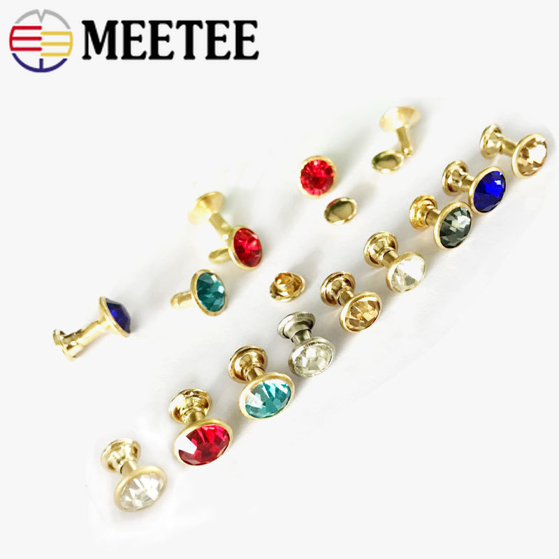 Apparel Sewing & Fabric Nice Meetee 50/100pcs 8mm Glass Crystal Rivet Button Bag Decorbuckles Diy Leather Craft Clothing Accessories Drill Nail Hook Bf052