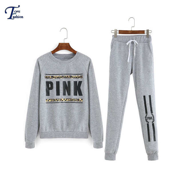 2 Pieces Women Hot Sale Grey Round Neck Letters Print Long Sleeve Top With Twin Pockets Drawstring Long Pants Suits