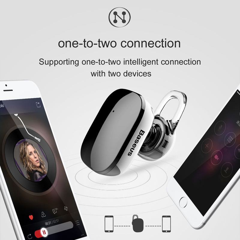 baseus mini bluetooth earphone with mic 4.1 ear hook and for hands-free call
