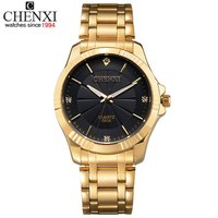 2016 New CHENXI Quartz Tag Gold Full Steel Vogue Casual Watch Men Business Male Relojes Hombre