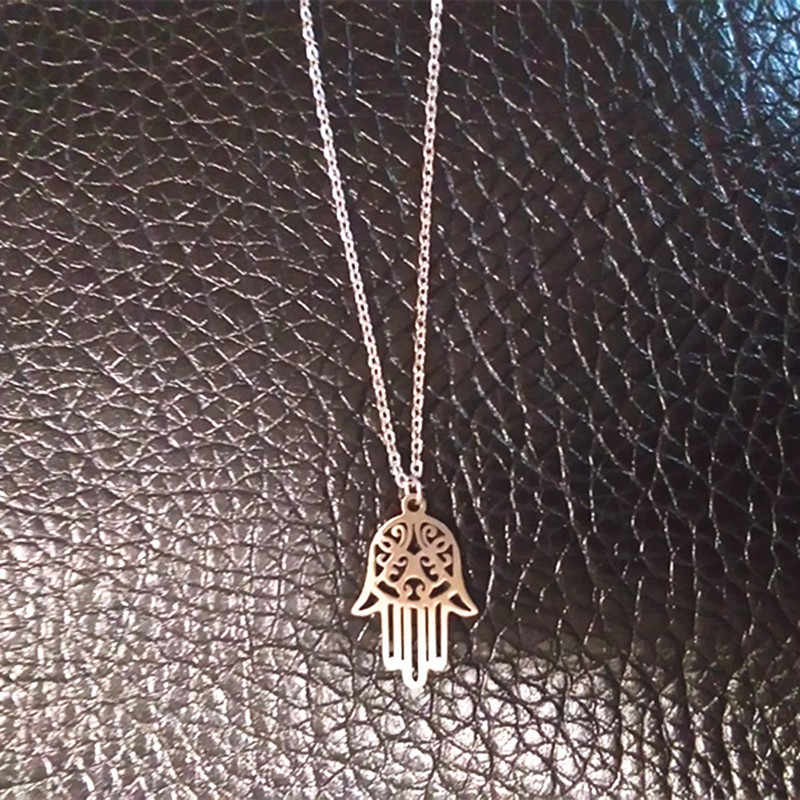 Hamsa Hand Statement Stainless Steel Necklaces 2018 Silver Color  Hamsa Chocker Necklace acero inoxidable collares joyas