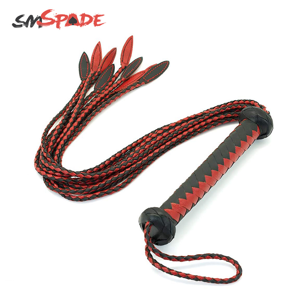 Role Play Flirting Metal Handle Leather Flogger Metal -4970