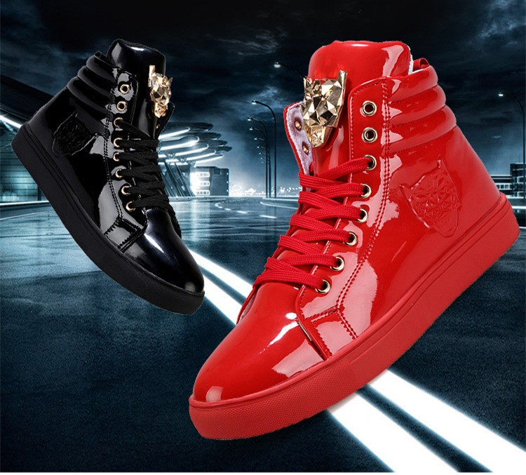 Fashion Leopard Sequined Skate Shoes For Men Ankle Boots 2015 New PU Patent Leather Shoe High Top Casual Flats Medusa Shoes F184 (2)