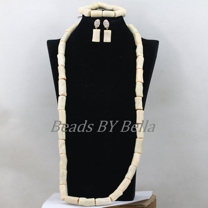 Luxury Long Necklace For Women African Costume Jewelry Sets 38inches White Coral Wedding Beads Jewelry Set Free Shipping ABK391