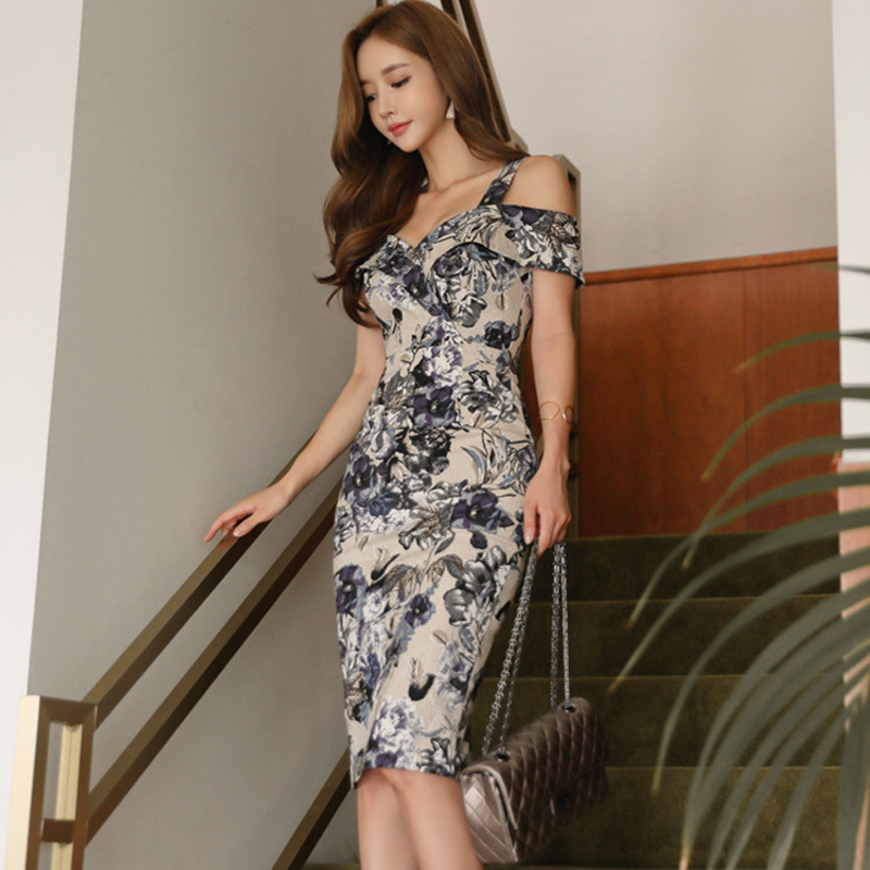 Foamlina Summer Women Dress Floral Print Strap Bodycon Dress Off Shoulder Slim Fit Work Party Sheath Midi Female Dress Vestidos