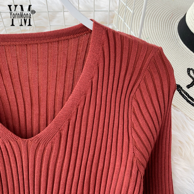 Image 3 - YornMona Elegant V Neck Split Midi Dress 2019 Autumn Winter Women Knitted Sweater Dress Button Long Sleeve Sashes Bodycon DressDresses   -