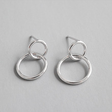 Simple Geometric Circle Earrings 100% 925 Sterling Silver Earring Fine Jewelry for Women Elegance Accessories WDE056