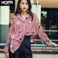 2018 Spring And Summer New Fashion Bird Printed Long Sleeve Stripe Shirt Women S Loose Casual