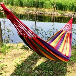 Image 5 - Pogrubienie płótno hamak na zewnątrz czas wolny Camping z Bind liny meble niebieski zielony niebieski