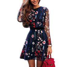 все цены на 2019 Sheer Mesh Summer Long Sleeve Mini A-line Dress Sexy Floral Embroidery Dress See-through Black Fashion Party Dress онлайн