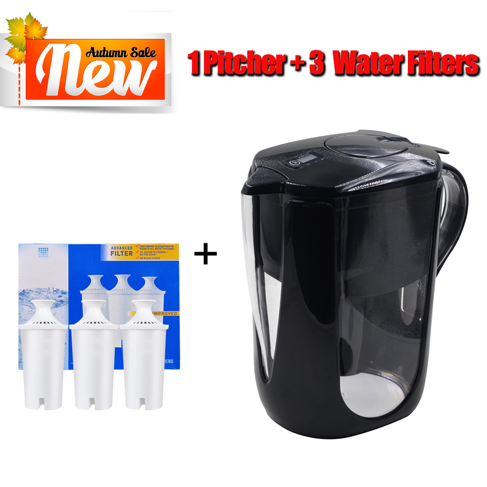 Household Straight Drink Filtered Tap Water Kettle Filter 1 Pitcher 3 Cartridge Water Filters Carbon for