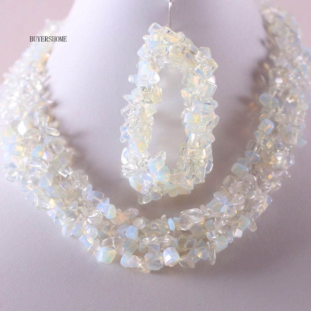 Free Shipping New Without Tags Women Jewelry Set Irregular Shape Chip Beads Natural Stone White Opal Necklace Bracelet E050 H049