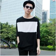 Summer Male Loose Half-sleeve T-shirt Patchwork Batwing Shirt Male Fashion Plus Size Popular Men's Clothing Top