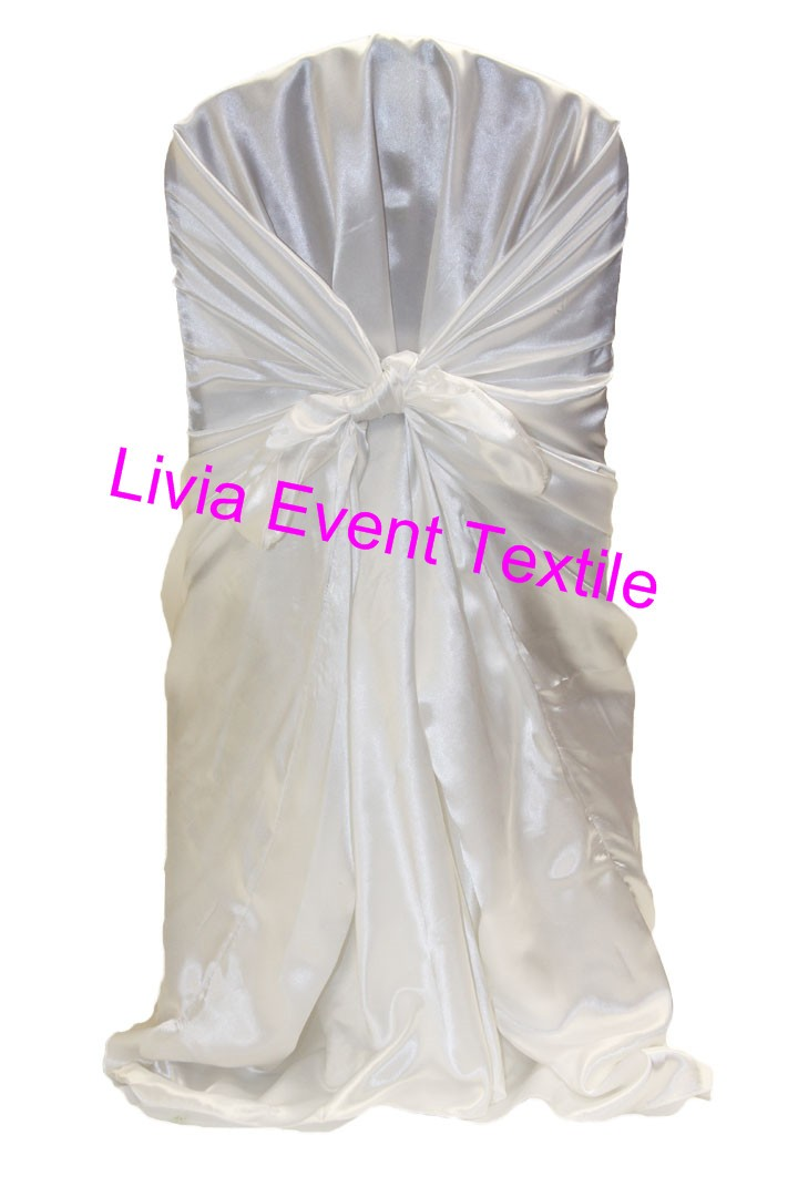 White Universal Chair Covers Modern Rolling Dining Chairs ᐂ130pcs Satin Back Self Tie Cover 130pcs For Wedding Events Party Decoration