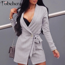 Glamaker Plaid long sleeve sexy suit blazer dress Women lace up belt cardigan suit dress Elegant spring casual office lady dress
