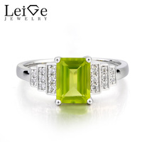 Leige Jewelry August Birthstone Natural Green Peridot Ring Promise Ring Emerald Cut Gemstone 925 Sterling Silver
