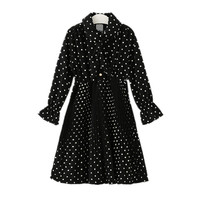 4 To 14 Years Kids Teenager Girls Long Sleeve Polka Dot Princess Flare Dress Children Fashion