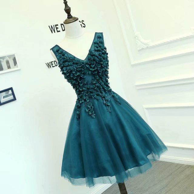 azul pavao vestido de formatura curto