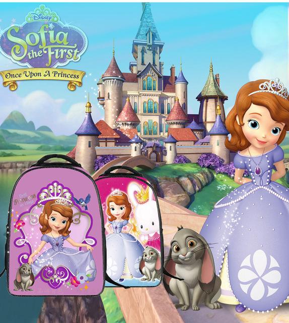 2016 Moda Para Niños Escuela de La Historieta 3D Bolsas Princesa Niñas Sofia Sofia la Primera Escuela de Los Niños Mochilas escolares Mochila Bolsas