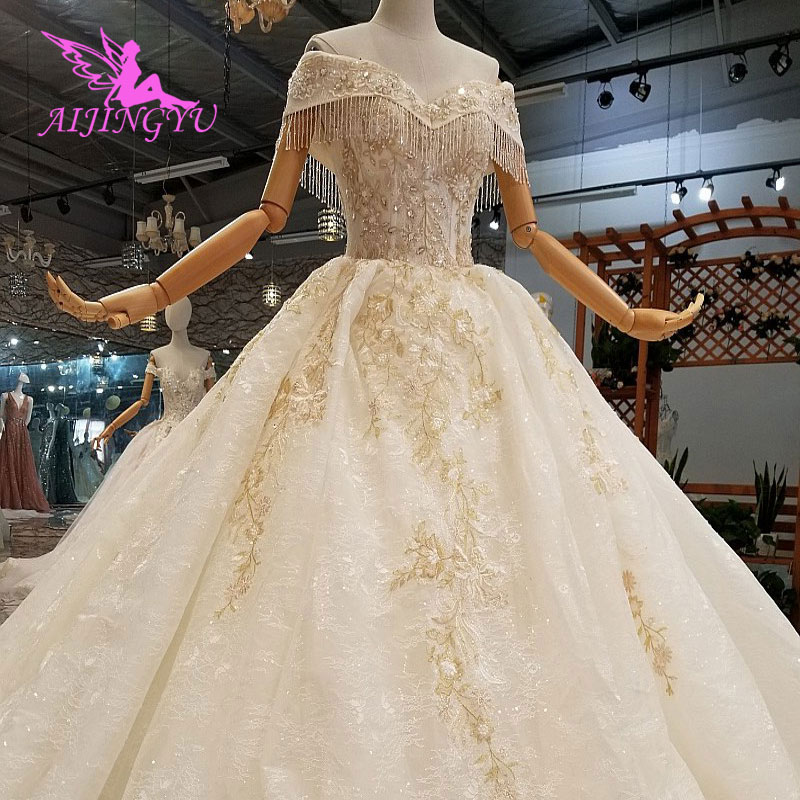 AIJINGYU Wedding Dresses 2018 Gowns Free Shipping Classy Luxury Real 2019 Dressing Belts Marriage Gown Dress