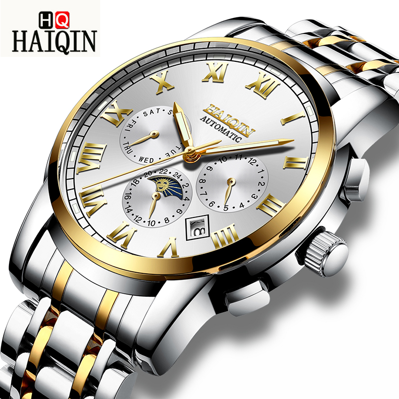 HAIQIN Men Watch Automatic Mechanical Tourbillon Luxury Fashion Brand Stainless Steel Man Sports Watches Mens Relogio MasculinoHAIQIN Men Watch Automatic Mechanical Tourbillon Luxury Fashion Brand Stainless Steel Man Sports Watches Mens Relogio Masculino