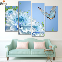4 Panels blue chrysanthemum Flower Large HD Picture Canvas Oil Painting Artwork Modern Decoration Wall Living room H067