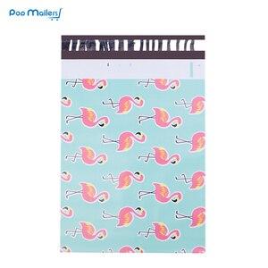 Image 2 - 100 stücke 25,5*33 cm 10*13 zoll Flamingo muster Poly Mailer Selbst Dichtung Kunststoff mailing Umschlag Taschen /taschen für verpackung shirts