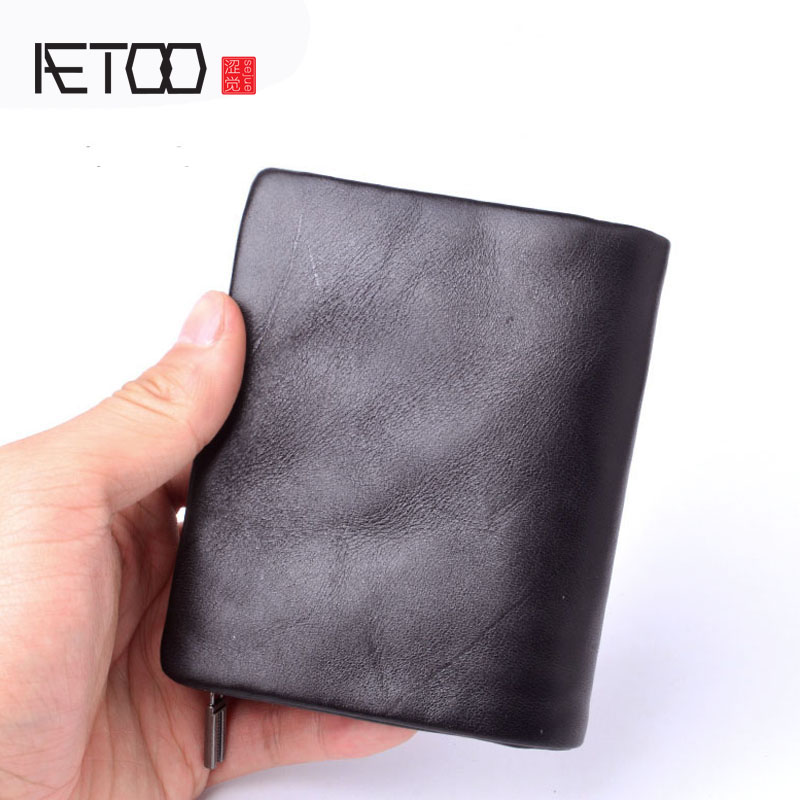AETOO Original handmade wallet men retro short wallet first layer of leather zipper wallet men Vintage wallets black