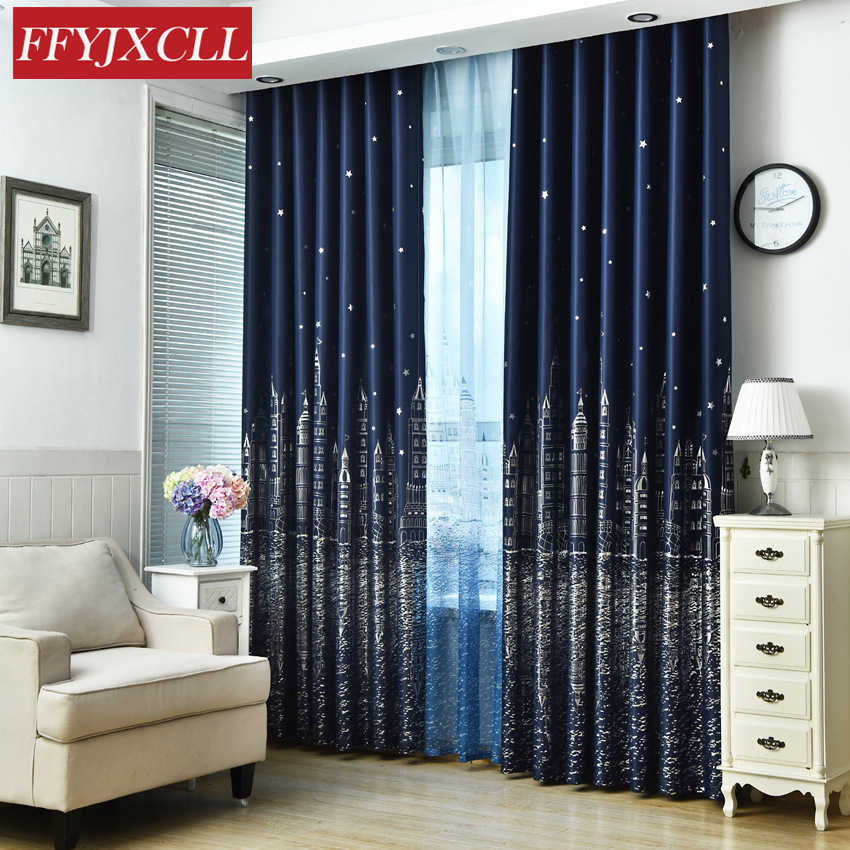 Blackout Curtain For Living Room Children Bedroom Cartoon Sea Castle Printed Voile Curtain kids Curtains Cloth Tulle Cortinas