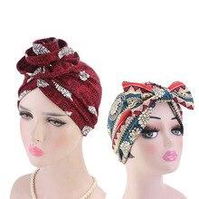 2pcs set flower and bow turban Cotton Flower Shape Turban Cap Bohemian Style Hat For Women Ethnic Print Headwear Hair Accessorie