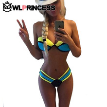 New Hot Colorful Strapless Women Triangle Sexy Halter panties Low Waist Patchwork Bikinis set push up Two Pieces Beach Swimsuit