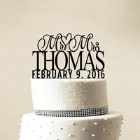 Custom Wedding Cake Topper Personalized Monogram Cake Topper Mr And Mrs Cake Decor Bride And Groom