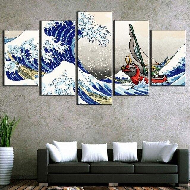 Modern Canvas Painting Prints Home Decor Wall 5 Piece Modular Legend of Zelda Picture Landscape Poster Hot Sale Frame Artworks