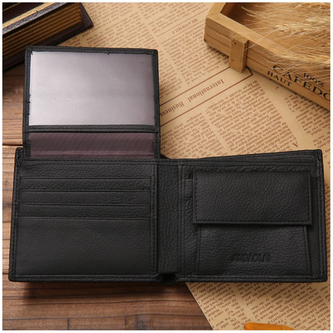 Hot Fashion JINBAOLAI Small Short Leather Mens Wallet Male Wallet Bag Wallet Vallet Card Money Persian world Wallet(Black) ...
