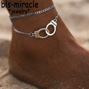 Anklets Jewelry Multilayer Bohemian-Link Handmade Female Silver-Color Vintage Women