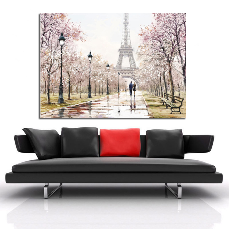 Romantic City Couple Paris Eiffel Tower Landscape Abstract Oil Painting on Canvas Poster Print Wall Picture for Living Room in Painting Calligraphy from Home Garden