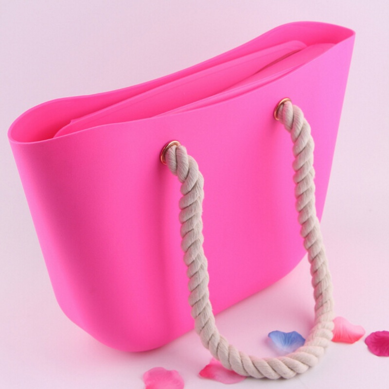Fashion Women Silicone O Beach Bag Hemp Rope Handles Handbag Ladies Rubber Waterproof Shoulder Bags Candy Color Shopping Tote