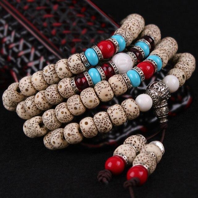 Handmade 108 Beads Bracelet Adorn Article Tibet Buddhist Prayer Beads Bodhi Seed Bracelet Obsidian Women Jewelry