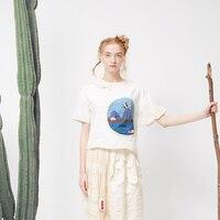 Women Blouse Cute Puff Sleeve Peter Pan Collar Pattern Patchwork Short Shirts White Summer New 2017 Cotton Girl Tops Loose