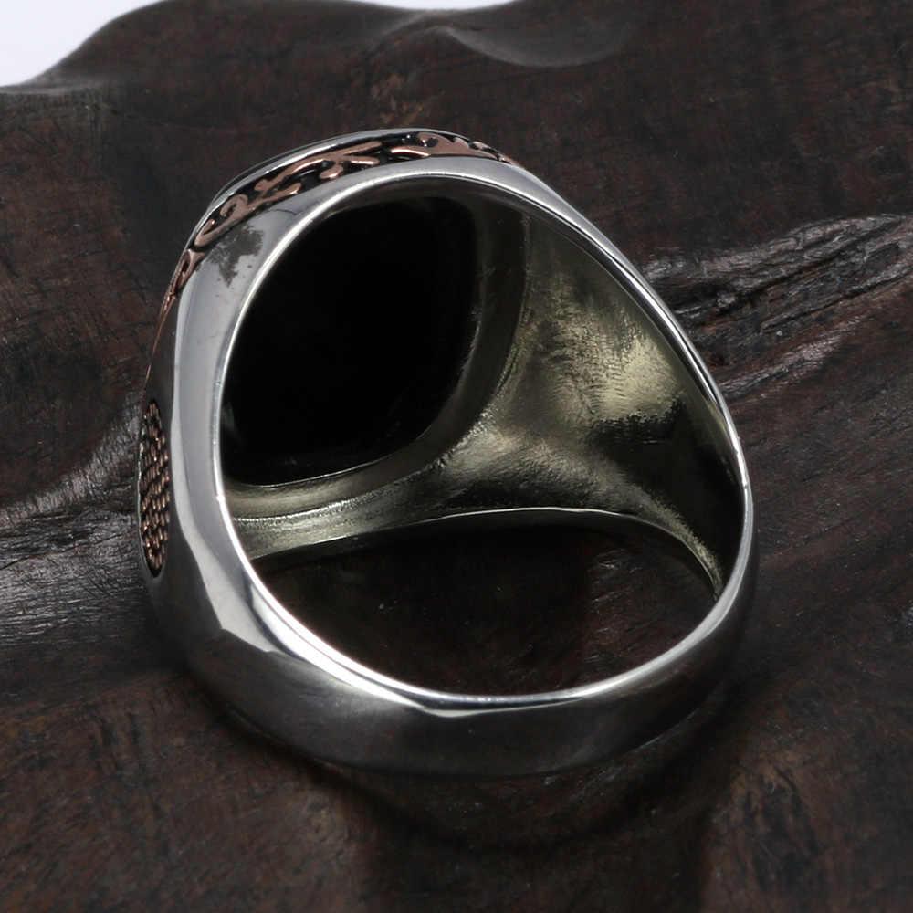 リアルピュアメンズリングシルバー s925 レトロビンテージトルコ男性天然ブラックオニキスの石トルコジュエリー