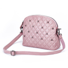 Women pink handbag high quality genuine leather shell bags fashion small rivet messenger bag for party ladies purses 5colors