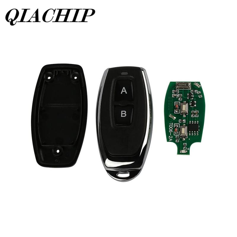 QIACHIP 433mhz 2 Button Relay Remote Control Learning Code 433mhz Receiver 1527 EV1527 Gate Garage Door Controller Alarm DS25