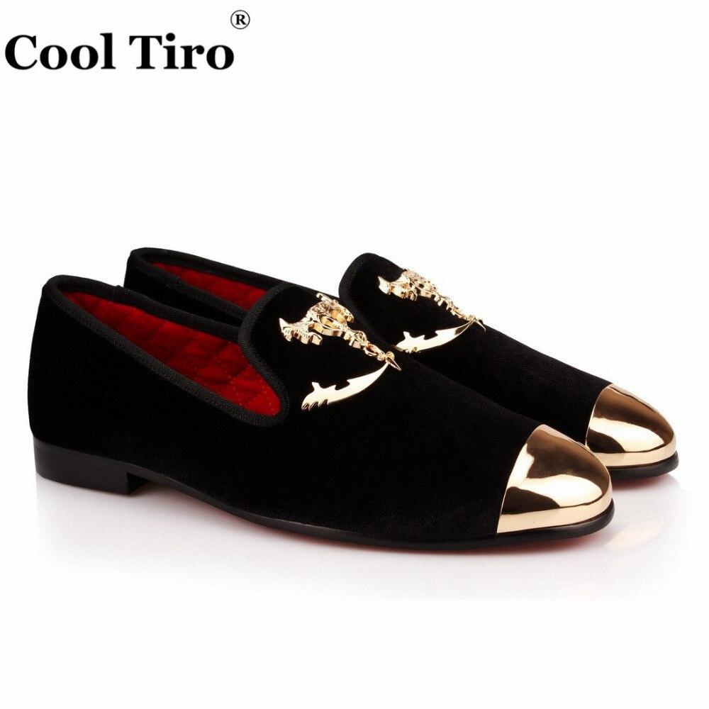 COOL TIRO  new Gold Skull and crossbones Handmade Men Black velvet Metal toe shoes wedding party Loafers Flats