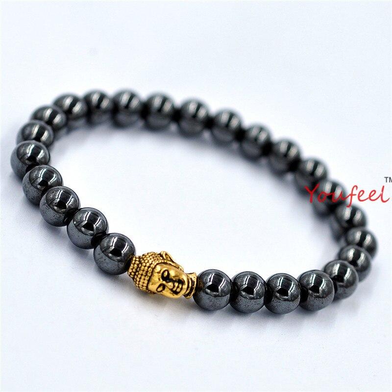 a50666fc9e06 Wholesale10pcs Lot promoción real de alta calidad negro hematita Cuentas  Buda Lucky pulseras