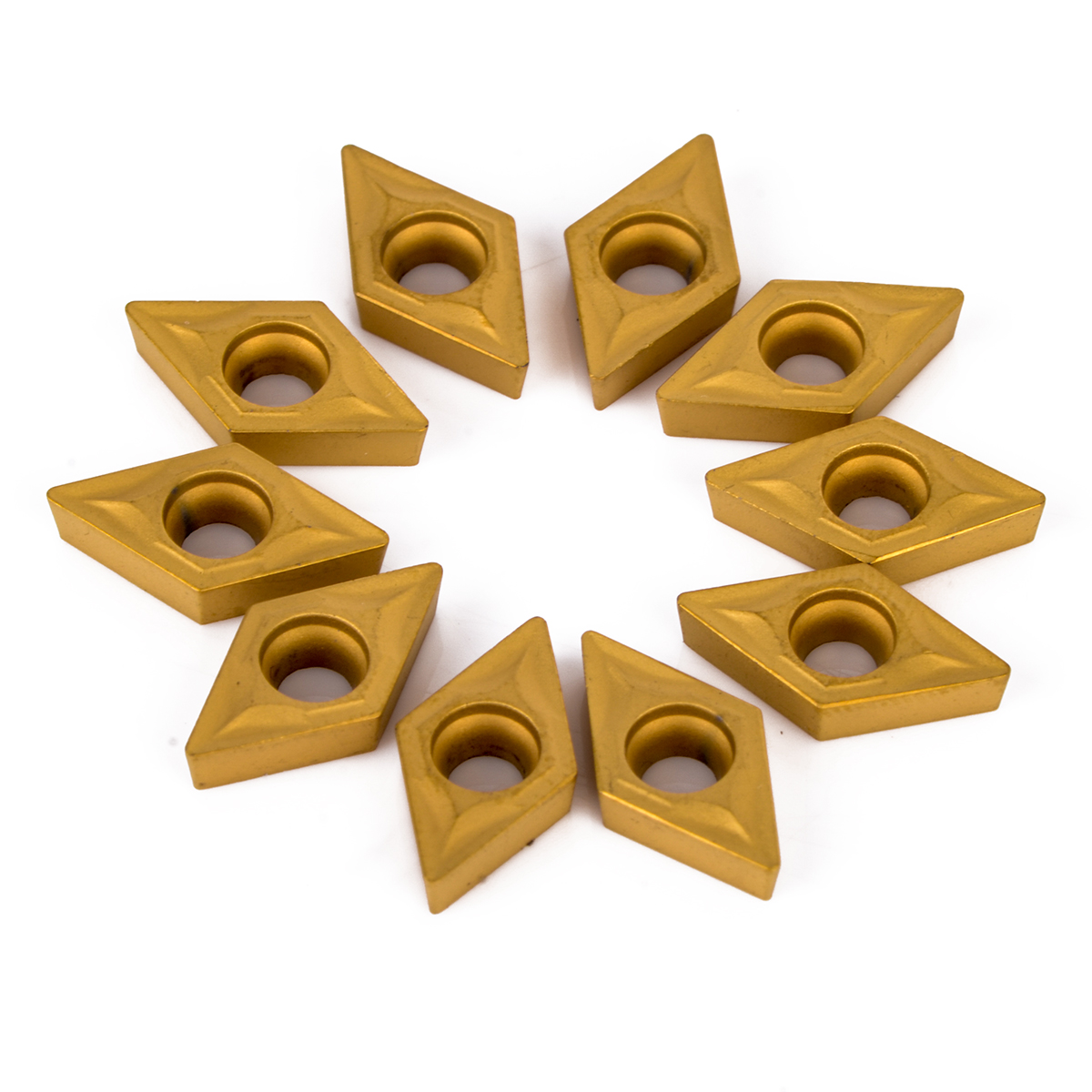 10pcs DCMT070204 YBC251 Carbide Inserts Durable Blades CNC Lathe Turning Cutter For Machining Processing Steel 7 X 7 X 2mm