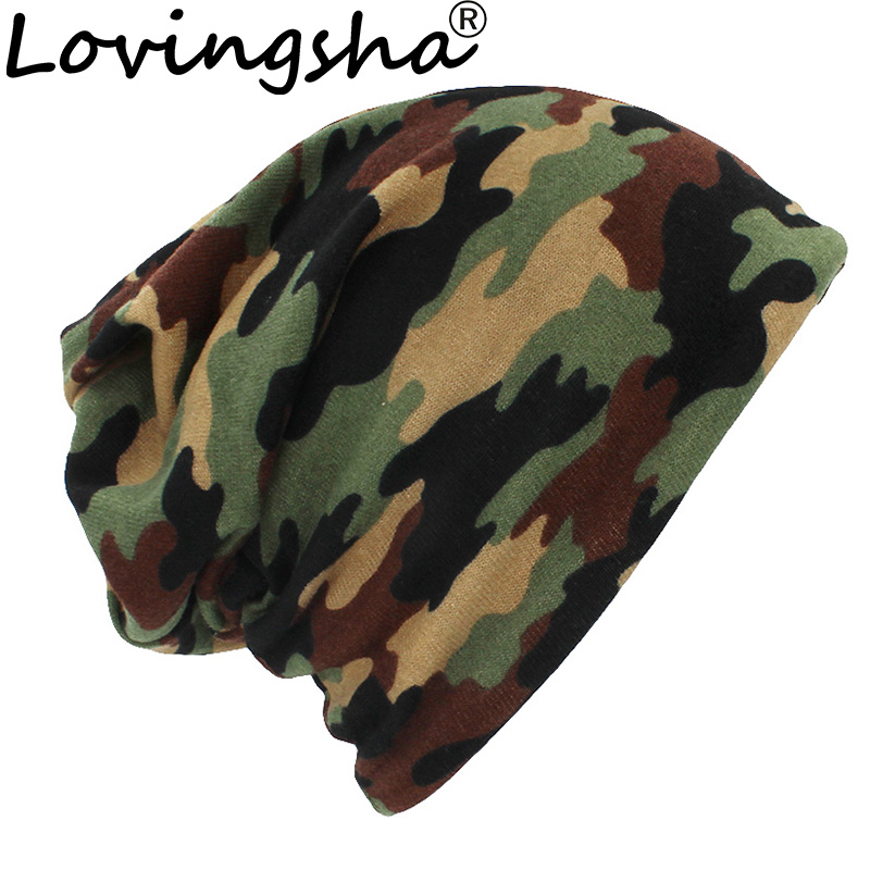 LOVINGSHA Autumn Winter Thin Multifunction Women   Skullies     Beanies   Camouflage Design Hats For Men Fashion Feminino Scarf HT110