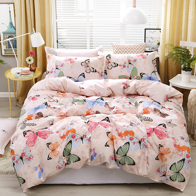 New Pink Bedding Set High Quality Butterfly Printing Bed Linings Duvet Cover Bed Sheet Pillowcases Cover Set 4pcs/set  55