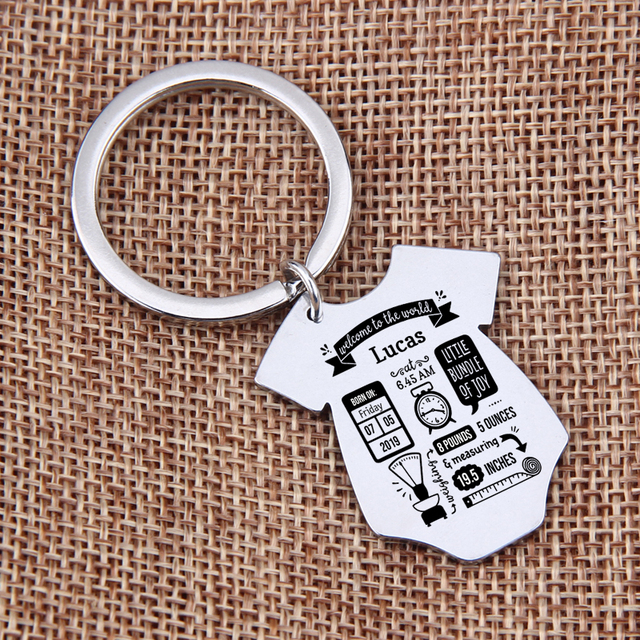 Gift Key Chain New Born Baby Souvenir Jewelry Baby Siamese shape First Mother's Father's day Gift Couple Anniversary Charm 1