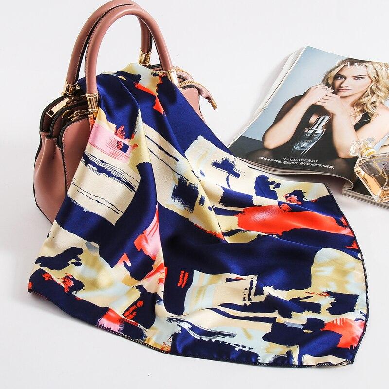 Women Satin Hair Neck Scarf Print Small Silk Square Scarfs For Ladies Hand Bag Scarves Tie Foulard Female Head Band