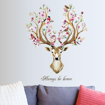 DIY Sika Deer Head Flowers Wall stickers For Living Room-Free Shipping For Kids Rooms Living Room